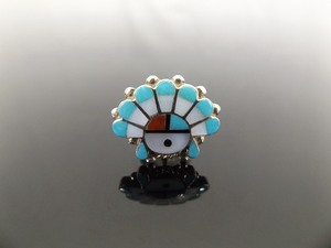 .925 Sterling Silver Navajo Inlayed Multi Stone Head Dress Lapel Pin