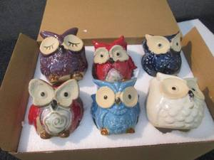 6 Mini Owl Ceramic Planters great f...