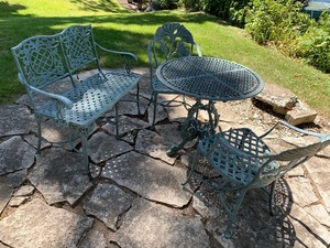 Metal Bistro Set and Bench