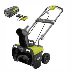 RYOBI 20 in. 40-Volt Single-Stage Brushless Cordless Electric Snow Blower with 5.0 Ah Battery and Charger Included in good conditions