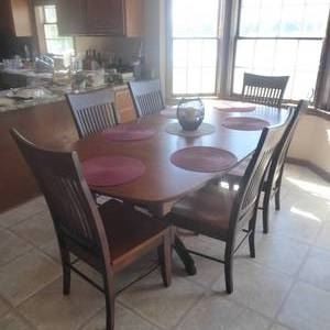 "83"" x 42"" 30"" Solid Wood Dining Table & Chairs"