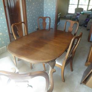 Solid Cherry Wood Dining Room Table Set with Six Chairs