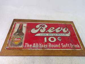 Rare Prohibition Drink Sign Budweiser Brewing Co. Bevo