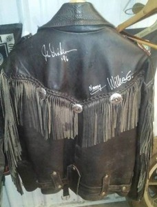 Autographed Fringed Leather Jacket - Willie G., Nancy, and John Davidson
