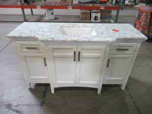 Belle Forest Sassy 60 in. Vanity in White with Marble Vanity Top in Carrara White BF90225