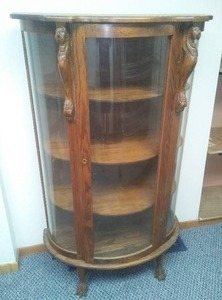 Antique Curio Cabinet – Rounded Glass, Ornate Wood