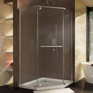 Dreamline Prism 34-1/8 in. x 72 in. Semi-Frameless Corner Pivot Shower Enclosure in Brushed Nickel with Handle, SHEN-2134340-40