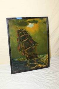 1937  Stormy Seas  by J. Schinkol  Framed  Vintage Original Oil Painting