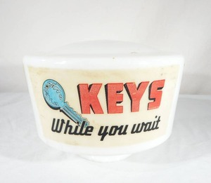 Vintage KEYS While You Wait Glass Display Globe Shade