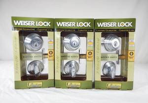 Lot of 3 New Weiser Lock Smart Key Titanium Alloy Throwbolt Core Deadbolt Door Locks