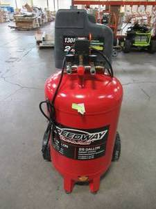 Speedway 28 Gal. 2 HP Oil-Free Vertical Air Compressor with Quick Connect Manifold and Heavy Duty Wheels 52619