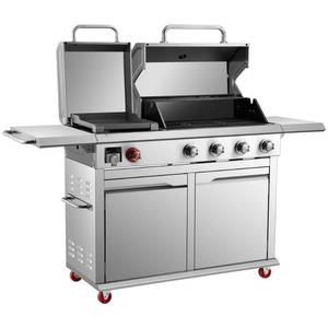 Dyna-Glo  4-Burner Propane Gas Grill in Stainless Steel with Griddle, DGX440SGP - Broken Bracket, Slight Dents, Missing Some Screws, Warming Rack, Bottom Pull Handle and Drip Pan