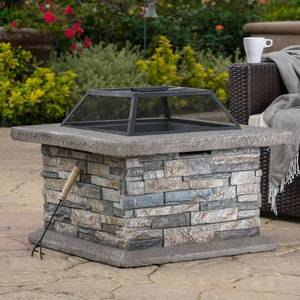 Crestline 29.00 in. x 17.10 in. Square Natural Stone Fire Pit by Noble House in good conditions