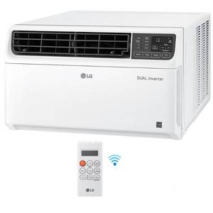 18,000 BTU Dual Inverter Smart Window Air Conditioner with Wi-Fi Enabled and Remote in White by LG Electronics not used