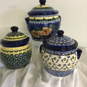 Set of 3 Beautiful Canisters- Polish Dishes