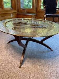 Vintage Moroccan style Solid Brass Table with Assorted Skewers