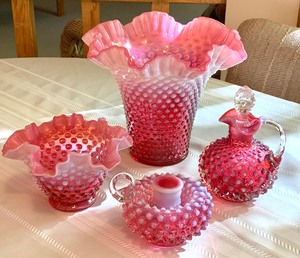 Four Lovely Pieces of Hobnail Fenton Opalescent Cranberry Glassware