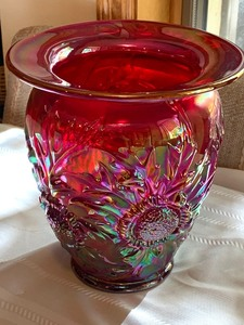 Signed Fenton Ruby Satin Iridescent Vase