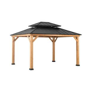 Sunjoy Archwood 12 ft. x 10 ft. Cedar Frame Gazebo with Double Tier Steel Roof Hardtop, A102007500 - Unclaimed Freight - NEW!