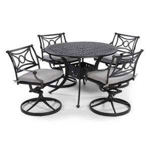 Homestyles La Jolla Cast Gray 5-Piece Aluminum Round Outdoor Dining Set with Gray Cushions, 5551-305