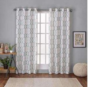 Kochi 54 in. W x 84 in. L Linen Blend Grommet Top Curtain Panel in Seafoam (2 Panels)
