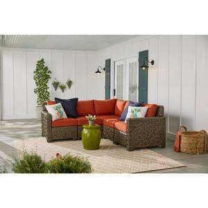 HAMPTON BAY Laguna Point 5-Piece Brown Wicker Outdoor Patio Sectional Sofa Set with Standard Quarry Red Cushions!!! SEE PICS
