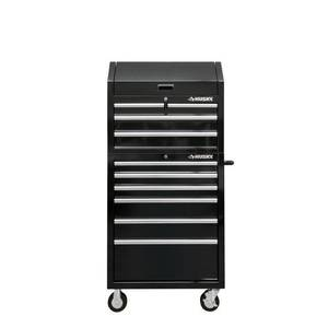 Husky 30 in. W 10-Drawer Deep Combination Tool Chest and Rolling Cabinet Set in Gloss Black in good conditions