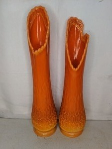 Pair of Tall Orange Mid Century Swung Glass Vases