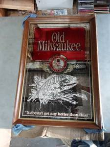 Old Milwaukee Beer Framed Mirror 18x26