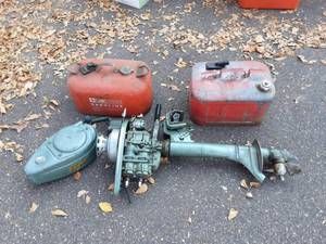 Vintage Elgin 5 Hp. Outboard Motor & 2 Gas Cans