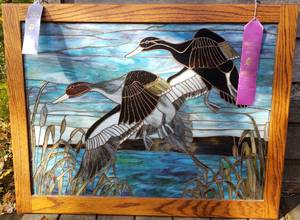 Remarkable Drake and Hen Over the Cat Tails Stained Glass Art