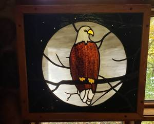 Enchanting Eagle Under a Full Moon Stained Glass Art