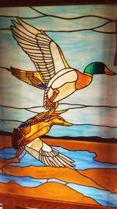 Mallards Taking Flight Stained Glass Art