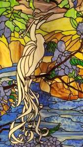 Stunning Egret on the River Stained Glass Art