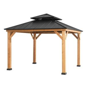 Sunjoy Archwood 10 ft. x 10 ft. Cedar Framed Gazebo with Steel Hardtop A102007300
