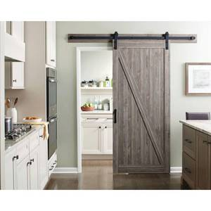 Masonite 36 in. x 84 in. Z-Bar Ash Gray Finished Composite Interior Sliding Barn Door Slab with Hardware Kit 17118