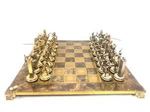 Fantastic Large Size Solid Brass Greek Warrior Chess Set by Manopoulos