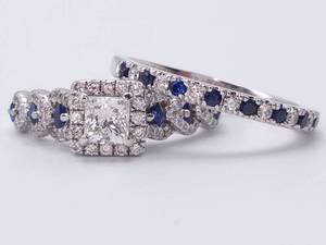 Vera Wang ~2.00 Carat Diamond and Sapphire Ring and Band Set in 14k White Gold; $5199