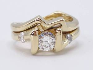 Very Fine (VS) 1/2 Carat Diamond Estate Ring with (2) Accent Diamonds in 14k Yellow Gold; $2375 Retail