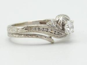 Brilliantly Designed Diamond Estate Ring with Detailed Art Nouveau Styled Engraving in 14k White Gold; $2875