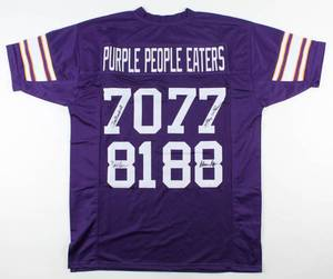 """Purple People Eaters"" Jersey Signed by (4) with Alan Page, Carl Eller, Jim Marshall & Gary Larsen (JSA COA)"