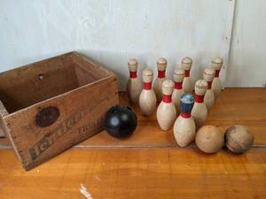 Vintage Sunsweet Prune Crate with Backyard Wood Bowling Set