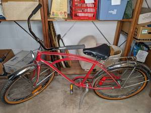 Cruiser Bike with Chrome Fenders and Luggage Rack