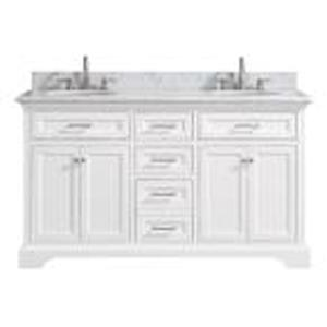 Home Decorators Collection Windlowe 61 in. W x 22 in. D x 35 in. H Bath Vanity in White with Carrera Marble Vanity Top in White with White Sink in good conditions