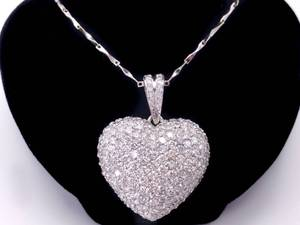 Masterpiece! Approximately 3.00 Carat Very Fine Pave Diamond Heart Pendant in 18k White Gold; $19,750 Retail