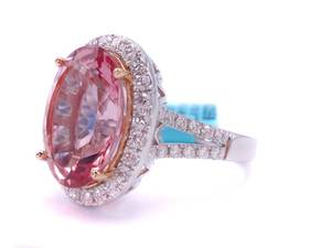 Brand New!  Stunning, Very Fine Quality Natural Pink Morganite and Diamond Statement Ring in 18k White Gold; $9,600 Retail
