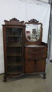 Antique Oak Curved Glass China Buffet With Mirror