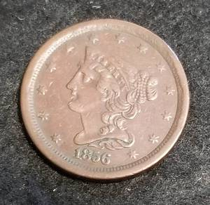 1856 US BRAIDED HAIR HALF CENT LOW MINTAGE COIN