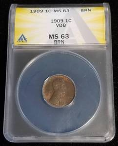 1909-VDB US WHEAT CENT MS63 BRN ANACS