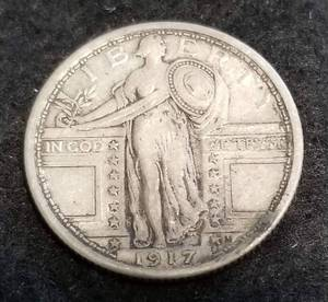 1917 TYPE I (exposed breast) STANDING LIBERTY QUARTER XF
